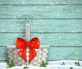 Christmas background with wooden wall and red bow vector