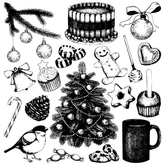 Christmas Baubles Decor Hand Drawing Vector 02