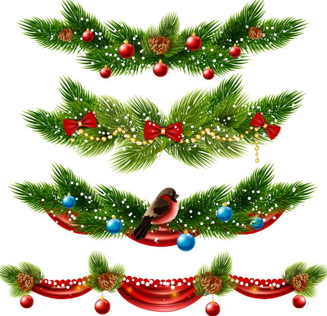 Christmas Borders Decor Vectors Set 01 Free Download