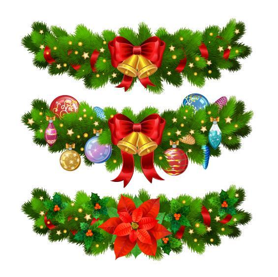 Christmas borders decor vectors set 02
