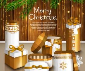 Christmas gift box with greeting card vectors