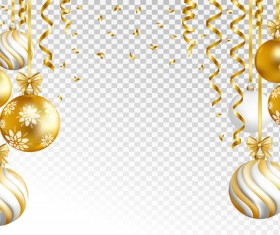 Christmas golden baubles vector illustration