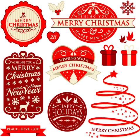 Christmas labels with badge and ribbon vector