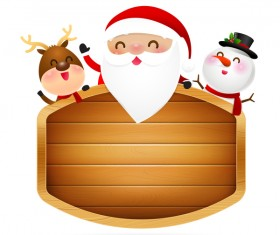 Christmas santa claus reindeer and snowman perched at wooden sign vector