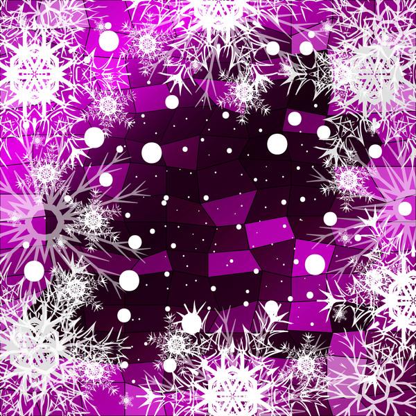 Christmas snowflake with shiny polygon background vector 02