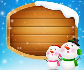 Christmas snowman and snowgirl with blank wooden sign vector