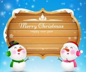 Christmas snowman and snowgirl wooden sign with text merry christmas vector 01