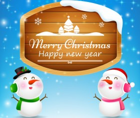 Christmas snowman and snowgirl wooden sign with text merry christmas vector 02