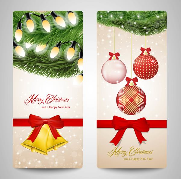 Christmas vertical banner design vectors 01
