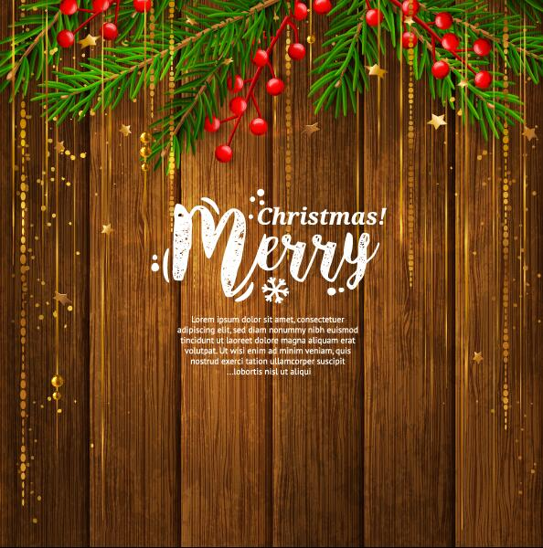 Christmas Wood Background.Christmas Vintage Card With Wooden Background Vector 02 Free