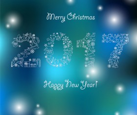 Christmas with 2017 new year blurs background vector