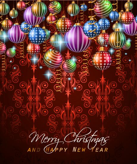 christmas with new year background and beautiful baubles vector