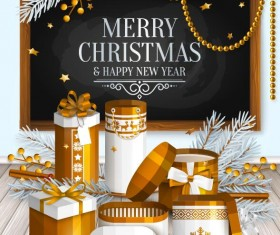 Christmas with new year gift box with blackboard background vector