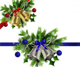 Christmass corner decorative with bell vector 01
