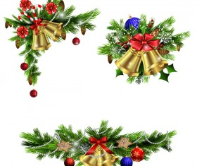 Christmass corner decorative with bell vector 02