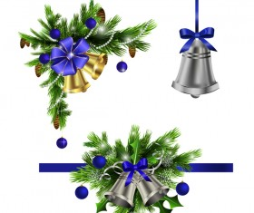 Christmass corner decorative with bell vector 03