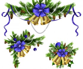 Christmass corner decorative with bell vector 04
