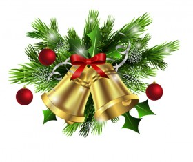 Christmass decorative baubles with bell vector 01