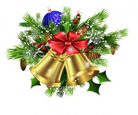 Christmass decorative baubles with bell vector 02