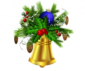 Christmass decorative baubles with bell vector 03