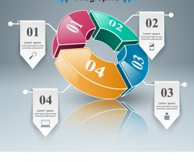 Circle 3d infographic paper vector