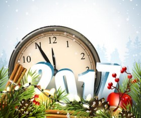 Clock with christmas card vector design