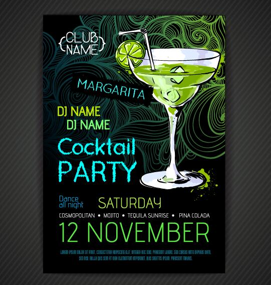 cocktail party poster and flyer template vector 05 free download