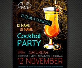 Cocktail party poster and flyer template vector 06