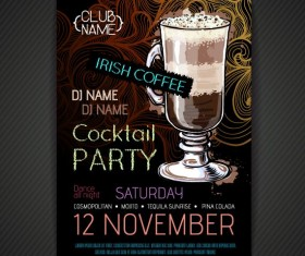 Cocktail party poster and flyer template vector 07