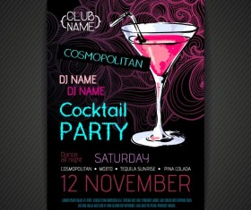 Cocktail party poster and flyer template vector 08