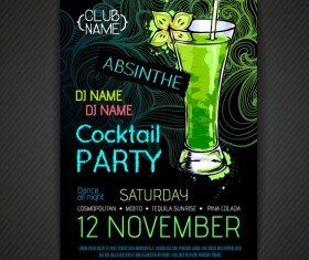 Cocktail party poster and flyer template vector 09