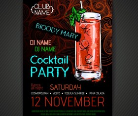 Cocktail party poster and flyer template vector 11