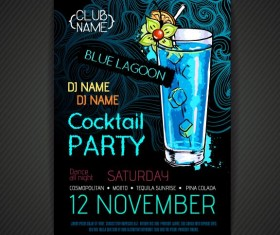 Cocktail party poster and flyer template vector 12