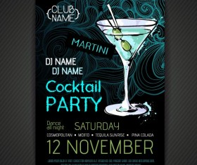 Cocktail party poster and flyer template vector 13