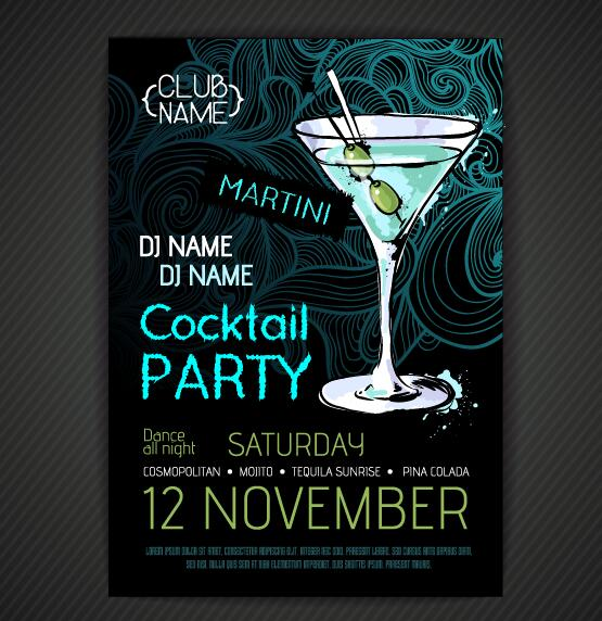 Cocktail party poster and flyer template vector 13 - Vector Cover ...