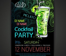 Cocktail party poster and flyer template vector 14