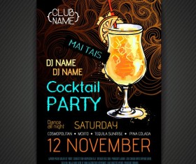 Cocktail party poster and flyer template vector 15
