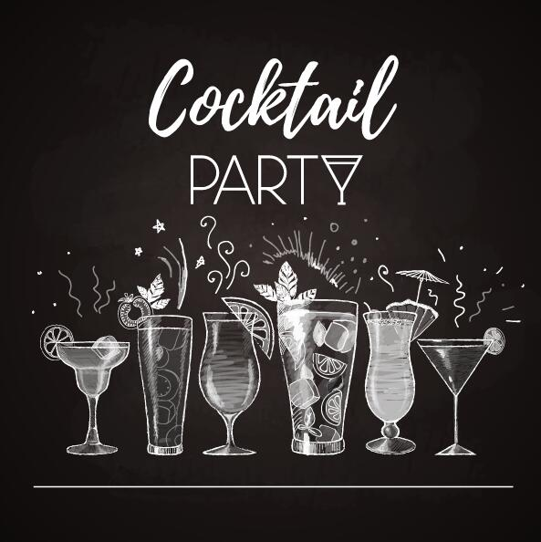 Cocktail poster template dark styles vector 02