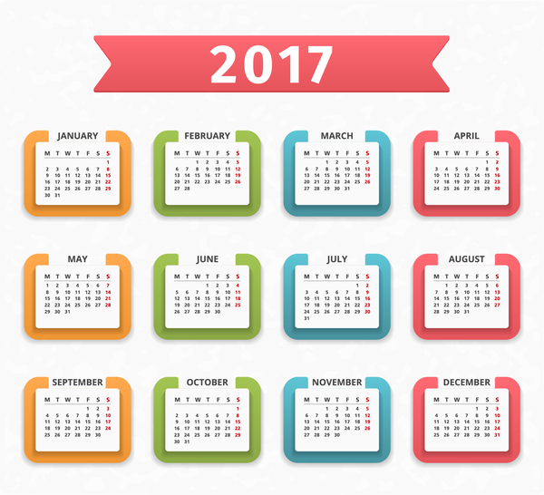 Colored Paper Calendar 2017 Vector Design Vector