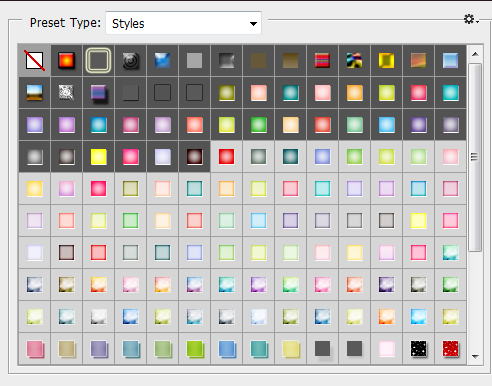 Colored photoshop styles set