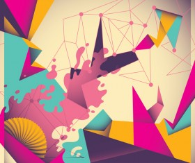Colorful retro abstract with grunge background vector