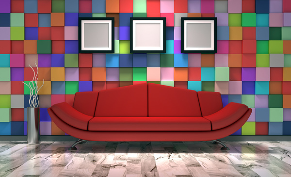 Colorful Wall With Picture Frame Background Red Sofa HD