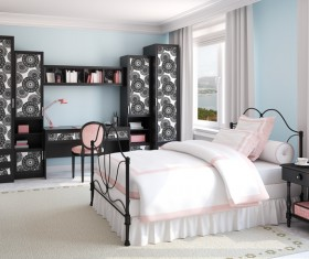 Comfortable bed with black pattern combination cabinet