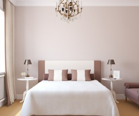 Comfortable bedroom with chandelier Stock Photo