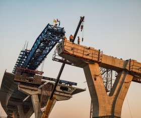 Construction of bridge Stock Photo