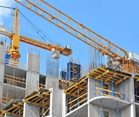 Construction of buildings and cranes Stock Photo 01