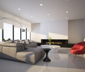 Contemporary modern wall system living room Stock Photo 06