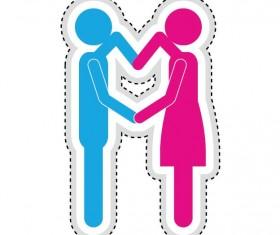 Couple romantic icons set 01