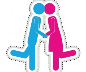 Couple romantic icons set 02