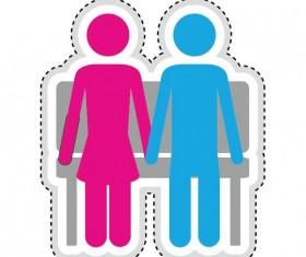 Couple romantic icons set 04